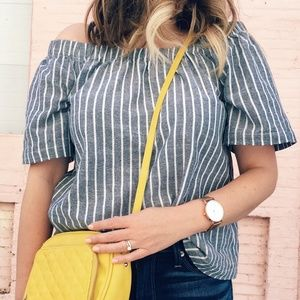 Striped Chambray Top